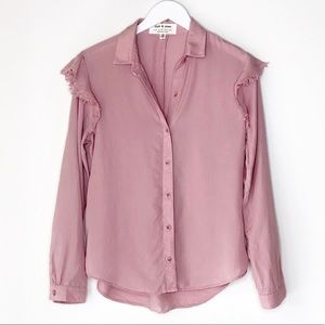 Cloth & Stone Pink Long Sleeve Button Up Blouse